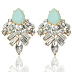 Crystal Resin Geometric Water Drop Stud Earrings For Women