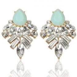 Crystal Resin Geometric Water Drop Stud Earrings For Women
