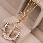 Crystal Rhinestone Anchor Pendant Alloy Sweater Chain Necklace Women Jewelry