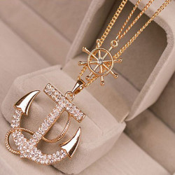 Crystal Rhinestone Anchor Pendant Alloy Sweater Chain Necklace