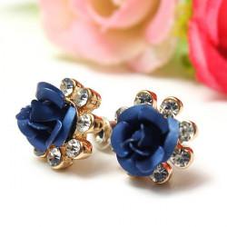 Crystal Rhinestone Blue Rose Flower Ear Stud Earrings For Women