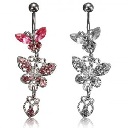 Crystal Rhinestone Butterfly Belly Button Ring Body Piercing Jewelry