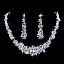 Crystal Rhinestone Choker Necklace Earrings Bridal Wedding Jewelry Set