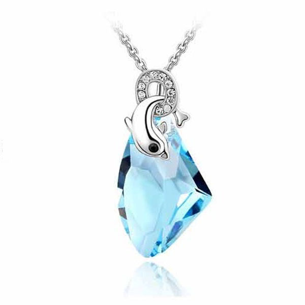 Crystal Rhinestone Colorful Dolphin Pendant Necklace Alloy Women Jewelry