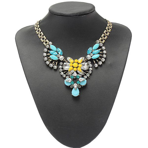 Crystal Rhinestone Flower Fan Statement Necklace Metal Chain Choker Women Jewelry