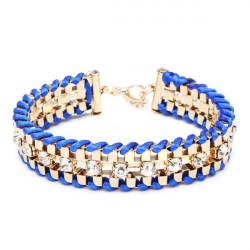 Crystal Rhinestone Geometric Link Chain Rope Weave Charm Bracelet