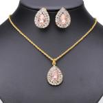 Crystal Rhinestone Peach Heart Pendant Earrings Necklace Set Women Jewelry