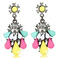 Crystal Rhinestone Resin Drop Dangle Earrings Women Jewelry
