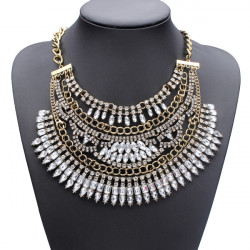 Crystal Rhinestone Statement Choker Necklace Women Jewelry