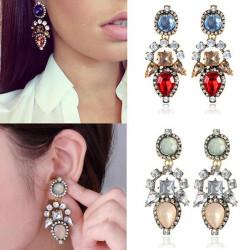 Crystal Rhinestone Water Drop Dangle Earrings Women Jewelry