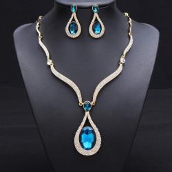Crystal Rhinestone Water Drop Wedding Jewelry Set Necklace Earrings