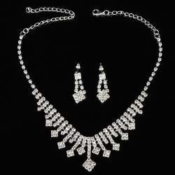Crystal Silver Plated Necklace Earrings Wedding Bridal Jewelry Set