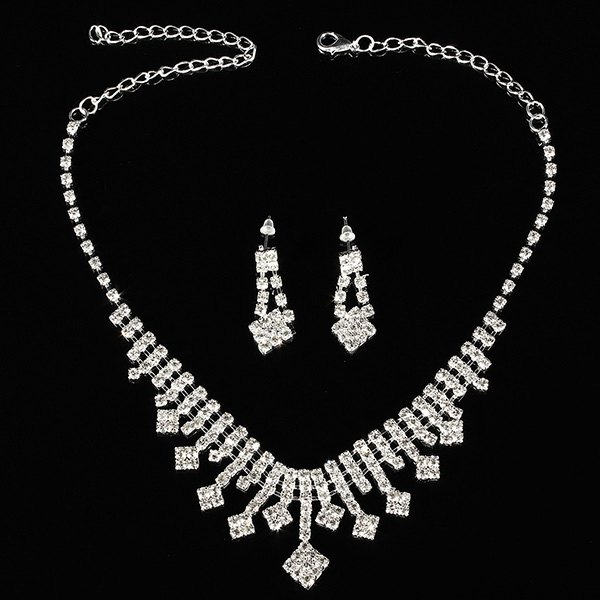Crystal Silver Plated Necklace Earrings Wedding Bridal Jewelry Set Women Jewelry