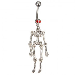 Crystal Skull Skeleton Dangle Navel Belly Ring Piercing Body Jewelry