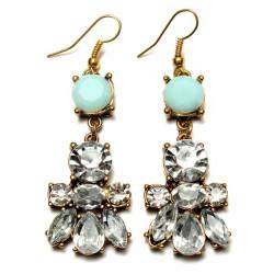 Crystal Water Drop Irregular Geometric Flower Earrings For Women