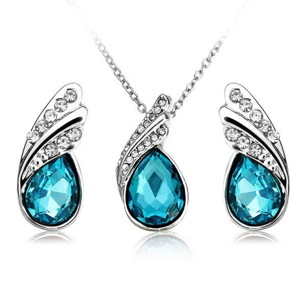 Crystal Water Drop Necklace Earrings Jewelry Set Silver Plated Jewelry Women Jewelry
