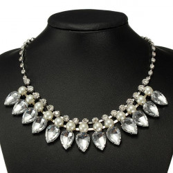 Crystal Waterdrop Pearl Statement Necklace Metal Chain Choker