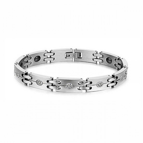 Crystals 316L Stainless Steel Health Care Magnetic Couple Bracelet 2021