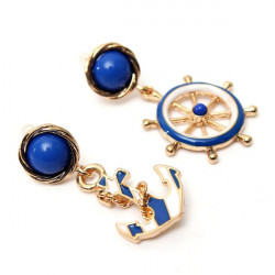 Cute Blue Anchor Rudder Drop Earrings Gold Plated For Women
