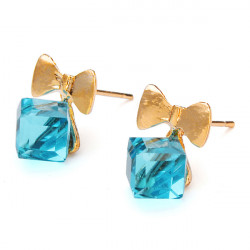Cute Bowknot Square Cube Crystal Stud Earrings Gold Plated