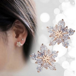 Cute Crystal Champagne Gold Snowflake Stud Earrings For Women