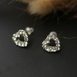 Cute Full Rhinestone Love Heart Stud Earrings For Women