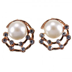Cute Gold Pearl Rhinestone Hollow Moon Stud Earrings For Women