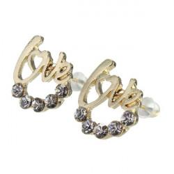 Cute Gold Silver LOVE Heart Crystal Stud Earrings For Women