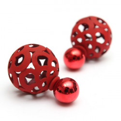 Cute Hollow Ball Double Faced Stud Earrings For Women