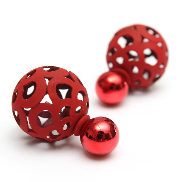 Cute Hollow Ball Double Faced Stud Earrings For Women Women Jewelry