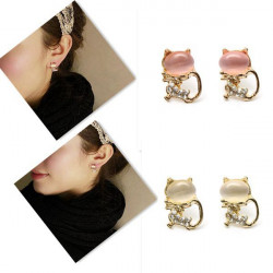 Cute Rhinestone Opal Cat Bowknot Stud Earrings For Women