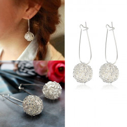 Cute Silver Alloy Nest Hollow Ball Drop Earrings For Women