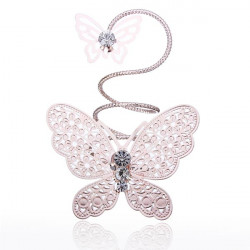 Double Butterfly Rhinestone Ring Twisting Metal Finger Ring