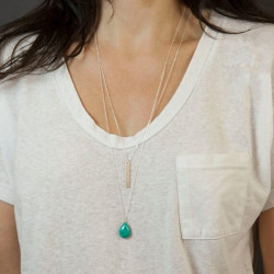 Double Chain Turquoise Alloy Strip Double Layer Pendant Necklace