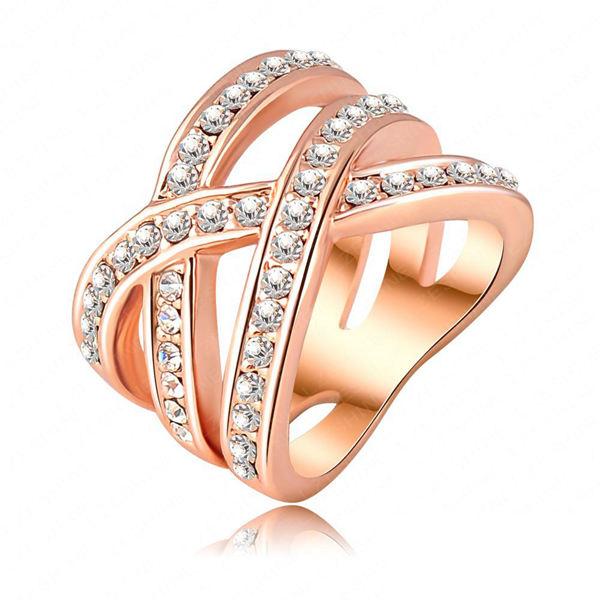 Double Cross Austrian Crystal Women Ring 18K Rose Gold Plated Women Jewelry