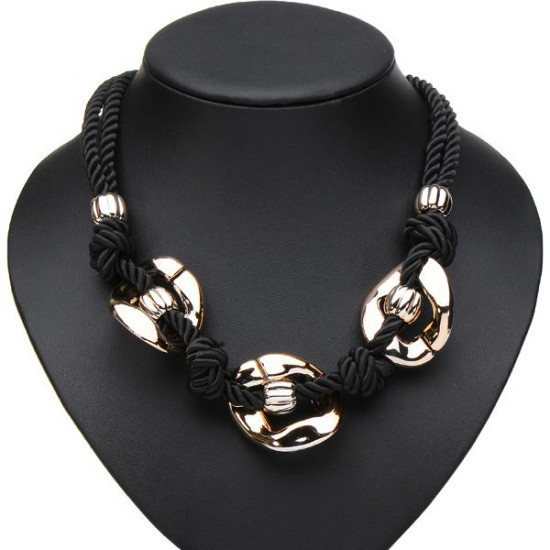 Double Hemp Rope Chunky Chain Pendant Statement Necklace Jewelry 2021