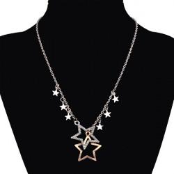 Double Pentagram Star Crystal Rhinestone Sweater Chain Necklace