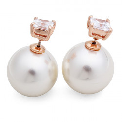 Double Side Pearl Zircon Stud Earrings For Women Rose Gold Plated