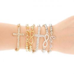 Elastic Rhinestone Bead Love Infinity Cross Bracelet Silver Gold