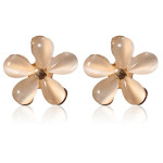 Elegant Opal Flower Ear Stud Earrings For Women Gold Plated Women Jewelry