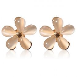 Elegant Opal Flower Ear Stud Earrings For Women Gold Plated
