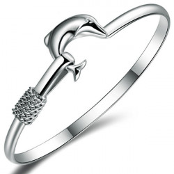 Elegant Silver Plated Dolphin Cuff Bangle Bracelet For Women