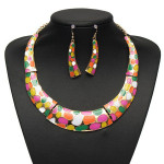 Enamel Geometric Crescent Earrings Pendant Necklace Women Jewelry Set Women Jewelry