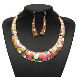 Enamel Geometric Crescent Earrings Pendant Necklace Women Jewelry Set