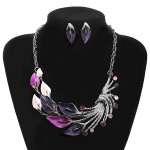 Enamel Leaf Peacock Crystal Necklace Earrings Jewelry Set For Women Women Jewelry