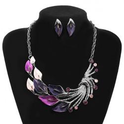 Enamel Leaf Peacock Crystal Necklace Earrings Jewelry Set For Women