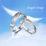 Engraved Angel Wings Love Wedding Couple Rings Valentines Day Women Jewelry