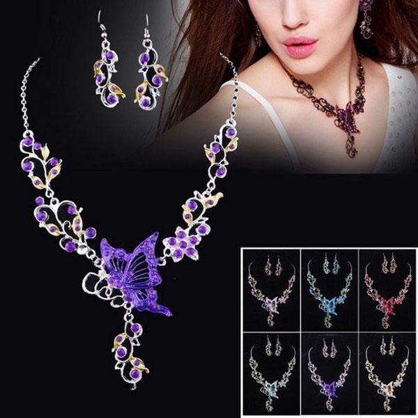 Ethnic Bridal Crystal Butterfly Flower Earring Necklace Jewelry Set Women Jewelry