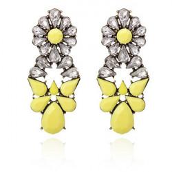 Flower Waterdrop Earrings Rhinestone Ear Stud For Women