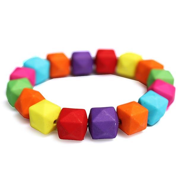 Fluorescent Geometric Beads Bracelet Candy Color Elastic Bracelet Women Jewelry